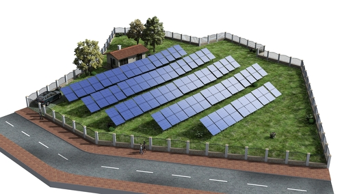 Power station with photovoltaic modules